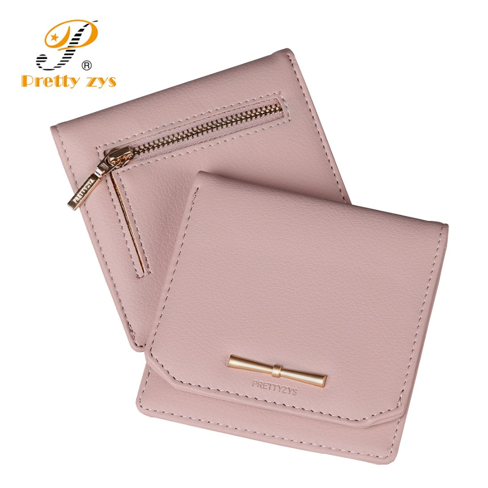Prettyzys Women Lovely Short Wallet Leather Zipper Slim Mini Coin Purse Hasp Female Fashion Lady Portable Small Bowknot For Girl new women fashion leather hasp tri folds wallet portable multifunction long change purse hot female coin zipper clutch for girl