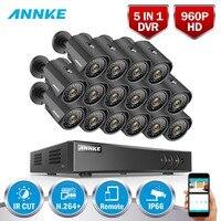 ANNKE 960P 16CH CCTV Camera System 16pcs 1.3MP 1500TVL Outdoor IP66 Waterproof Metal CCTV Security Camera Surveillance Kit