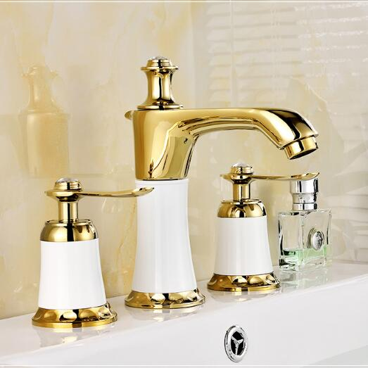 8 spread Cold&hot Basin Faucet Brass White and gold Bathroom Sink Faucet 2 Handles Sink Mixer Tap 3pcs Deck Mounted hpb brass morden kitchen faucet mixer tap bathroom sink faucet deck mounted hot and cold faucet torneira de cozinha hp4008