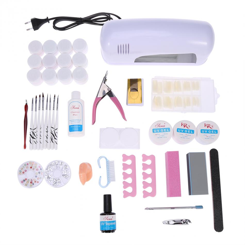 Nail Art Dryers gel Polish Manicure Tools Set UV Led Lamp Buffer Brush UV Gel False Nail  gel Polish Manicure Nail Art Tool em 128 free shipping uv gel nail polish set nail tools professional set uv gel color with uv led lamp set nail art tools