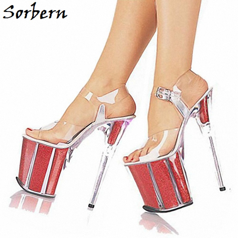 Sorbern Clear Plastic Heels Platform Sandals Summer Custom Made Sweet Party Decorations Women Shoes Ankle Strap Size 10 SandalsSorbern Clear Plastic Heels Platform Sandals Summer Custom Made Sweet Party Decorations Women Shoes Ankle Strap Size 10 Sandals