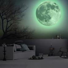 30 см Большая Луна светится в темноте светящаяся DIY Настенная Наклейка обои Декор Adesivo де Parede Vinilos Paredes наклейка s Muraux