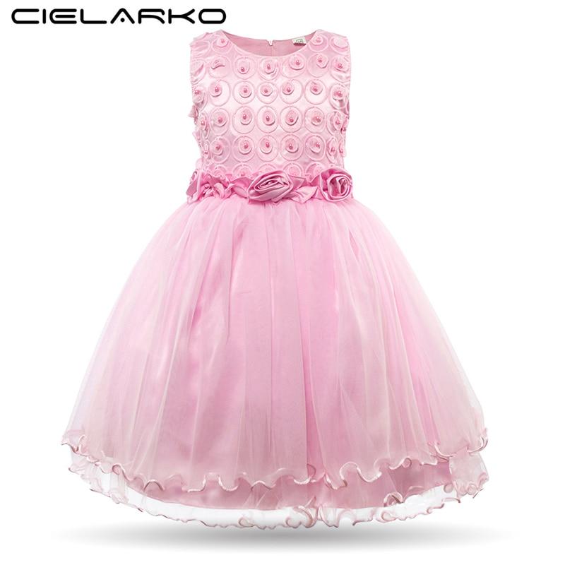 Cielarko Girls Dress Princess Rose Flower Children Party Dresses Sleeveless Pink Baby Wedding Gown Kids Pearls Frocks for Girl стоимость