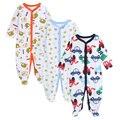 2016 Recién Nacido 3 unids/lote Bebé Arropa Los Mamelucos Del Bebé Ropa de Dormir Pijamas de Algodón de Manga Larga Mono Infantil Del Bebé Del Producto
