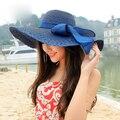 Hot Summer 2016 arco de moda Floppy Fold sombreros para mujeres sombreros para el sol plegable sombrero de playa de vacaciones damas de ala ancha sombrero envío gratis