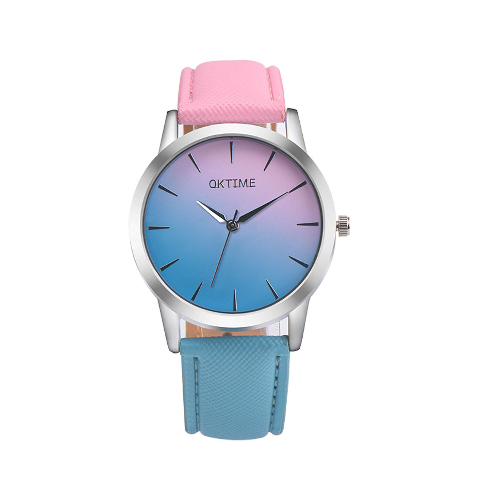 Fashion Women Watches Retro Rainbow Design Leather Band Analog Alloy Quartz Wrist Watch Relogio Feminino Clock Gift Dropshipping women lady dress watch retro digital dial leather band quartz analog wrist watch watches for dropshipping