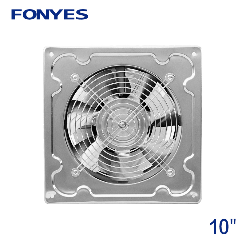 US $39.9 |10 inch stainless steel panel fan high speed industrial  ventilation fan metal wall exhaust fan kitchen window ventilator 250mm-in  Exhaust ...