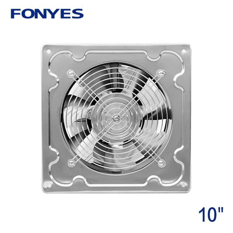 10 inch stainless steel panel fan high speed industrial ventilation fan metal wall exhaust fan kitchen window ventilator 250mm