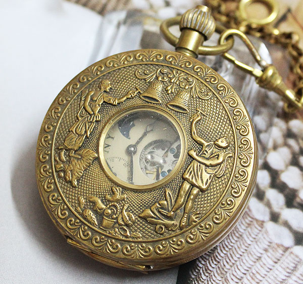 wholesale Nice Copper Double Cover Tourbilon Mechanical Pocket Watch 4 Colleting freeship rare archaize 5 hands mechanical pure brass pocket watch freeship