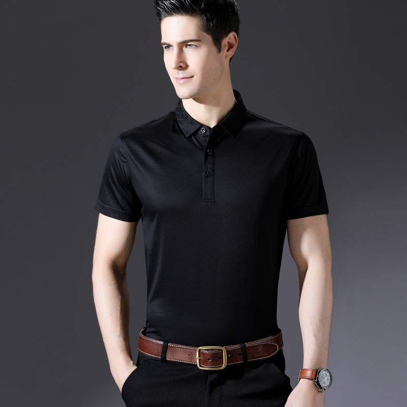 Men   Polo   Silk Solid Slim Fit   Polo   Shirt Men Summer Casual Short Sleeve   Polo   Men's Shirt Business Breathable High Quality S-XXL