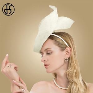 Image 5 - FS Fascinator Pink Ladies Hat For Wedding Women Elegant Kentucky Derby Hats Black Sinamay Church Linen Fedoras Chapeau Femme