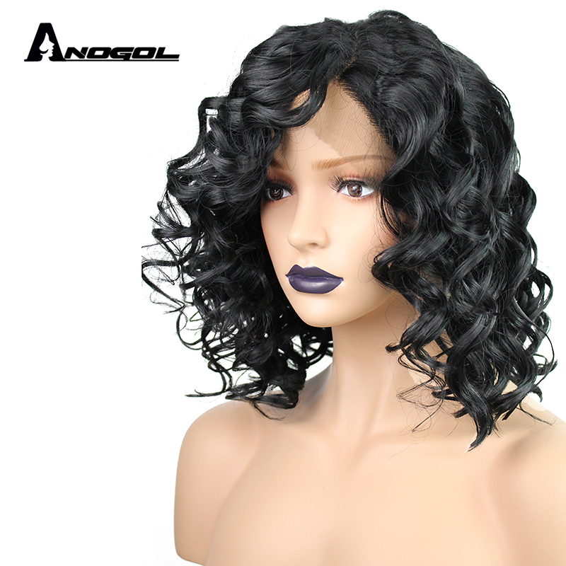 Anogol High Temperature Fiber Glueless Side Part Deep Wave Natural Hairline Short Bob Synthetic Lace Front Wig for Women