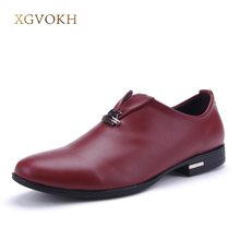 British casual men oxfords Spring slip-on business genuine leather shoes Fashion pointer toe solid flats Casual men shoes