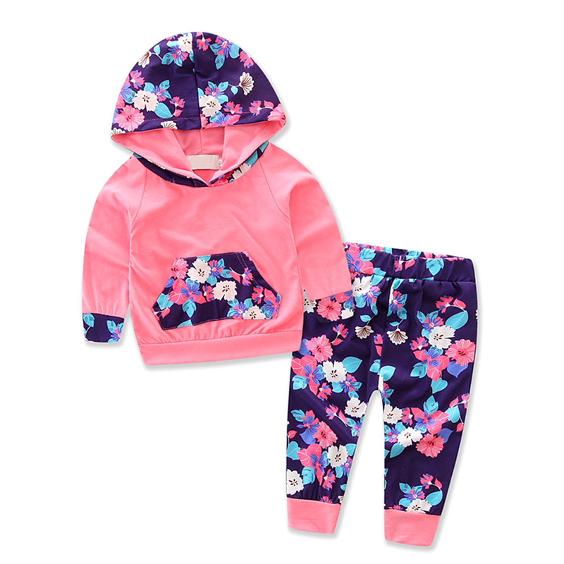 2017 Hot 2pcs Baby Girls Clothes Newborn Infant Hooded Sweatshirt Tops+PantsOutfits Tracksuit Kids Clothing Set j2