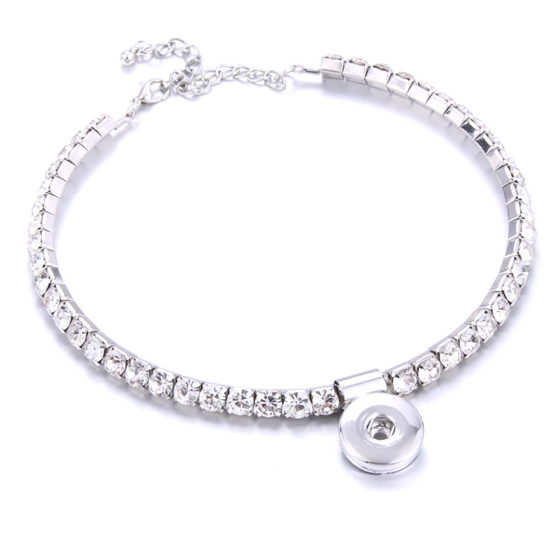 Lobster Buckle Elasticity Snap Jewelry Crystal Choker Classic Torques Fit 18mm Snap Button Necklaces & Pendants DIY Jewelry