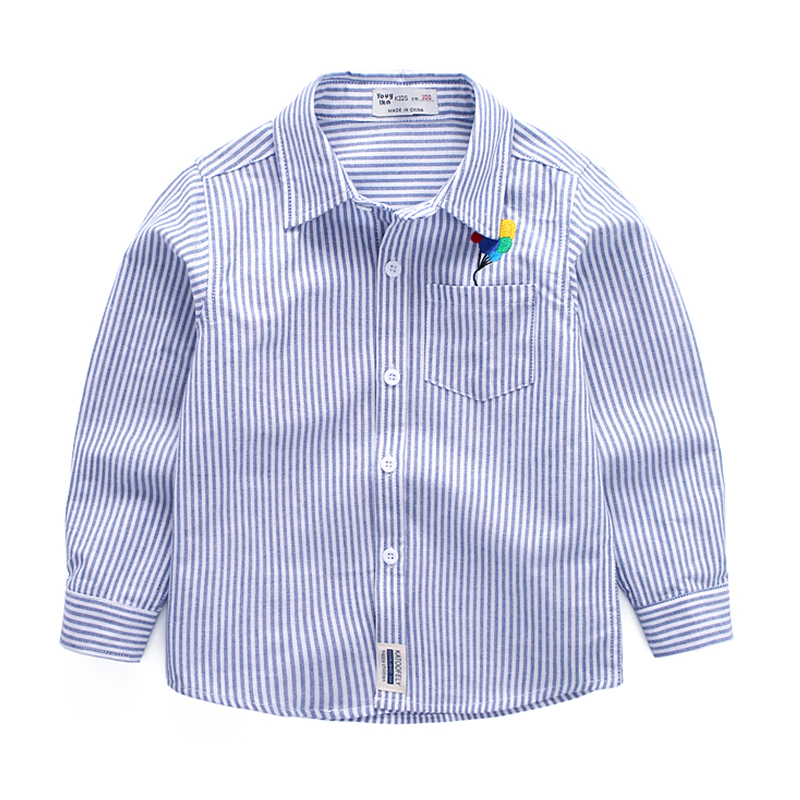Baby Boys Shirts for British Children Striped Cotton 2018 New Long Sleeve School Blouses Kids England Clothes Turn-down Collar