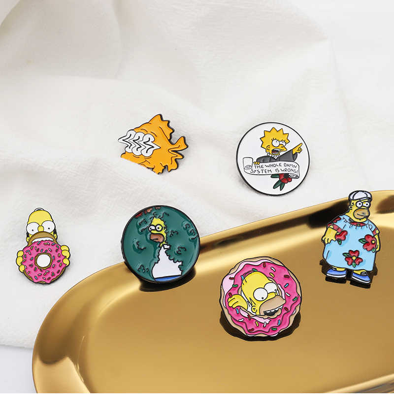 Simpson Pins Funny Family Bart-Simpson Marge-Simpson Sunfish Lapel Pin Badge TV Cartoon enamel Brooches Jewelry childhood memory