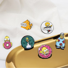 Simpson Pins Funny Family Bart-Simpson Marge-Simpson Sunfish Lapel Pin Badge TV Cartoon enamel Brooches Jewelry childhood memory(China)