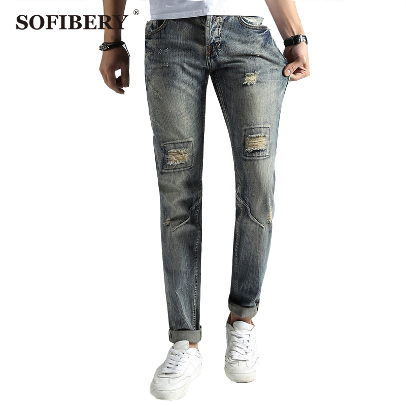 ФОТО SOFIBERY jeans men's jeans fashion casual men's Slim stretch denim trousers plus size 30-40 Fall in prices M1026-668