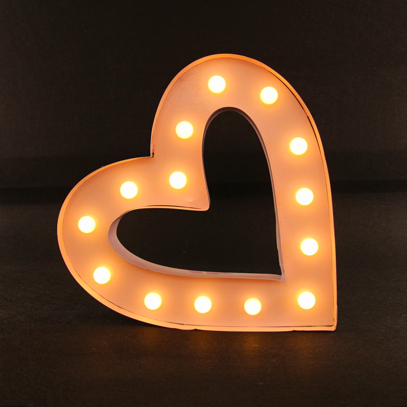 12 metal heart shape light LED alphabet Marquee Sign LIGHT UP Vintage metal signs light Indoor wall Deration customize order