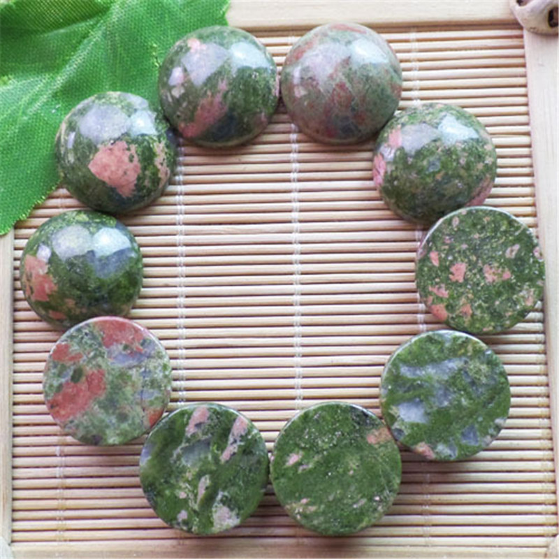 (10 pieces/lot) Wholesale Natural Unakite Gem Round CAB CABOCHON 20x6mm Free Shipping Fashion Jewelry ZY3357
