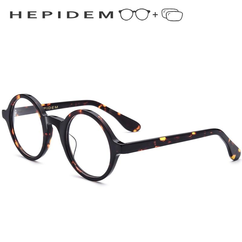 Acetate Optical Prescription Glasses Frame Men Full Retro Vintage Round Circle Eyeglasses 2018 Women Spectacles Myopia Eyewear(China)