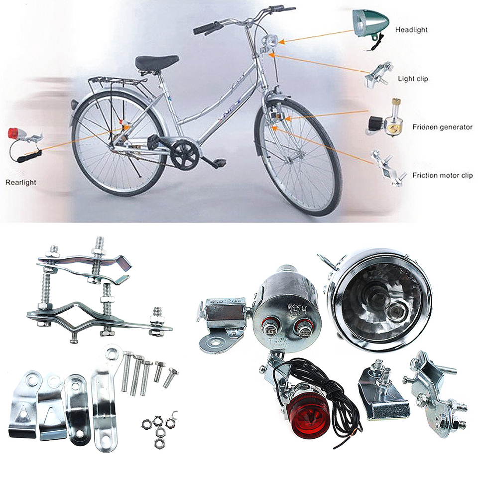12V 6W Dynamo Headlight /& Tail Light kit Set fits Racing Touring Bikes Tricycles