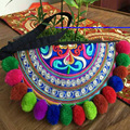 Vintage Embroidery Ethnic original bags Handmade multicolour Pompom Clutches Bags Personalized Phone/Mp4/Coin Small Coins Bag