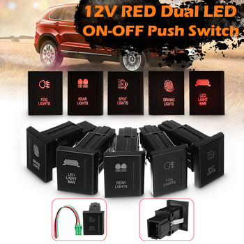 12V 3A Car LED Push Switch Driving Light Bar On Off Rocker Toggle Button Switch Amber/Red For VW Amarok PSWA107R Fit Right Side