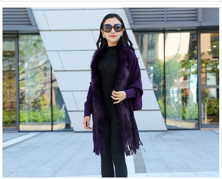 Faux Fur Collar Shawl Cardigan Tassel Winter Warm Coat 54