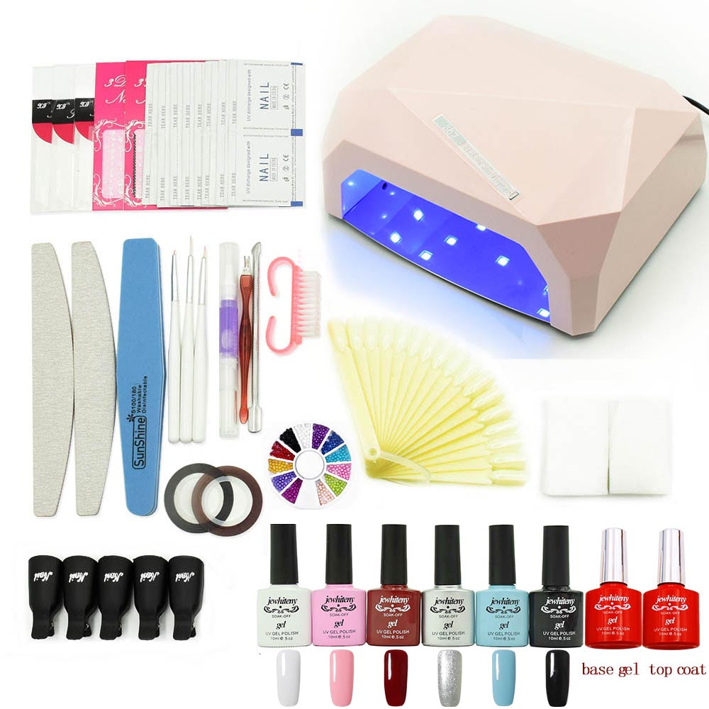 UV LED Lamp Nail gel nail art set manicure tools kits 6 color 10ml soak off UV gel nail polish varnish set base gel base coat professional nail polish set 36w uv lamp 10ml uv gel varnish nail base latex liquid color uv gel nail builder manicure tools