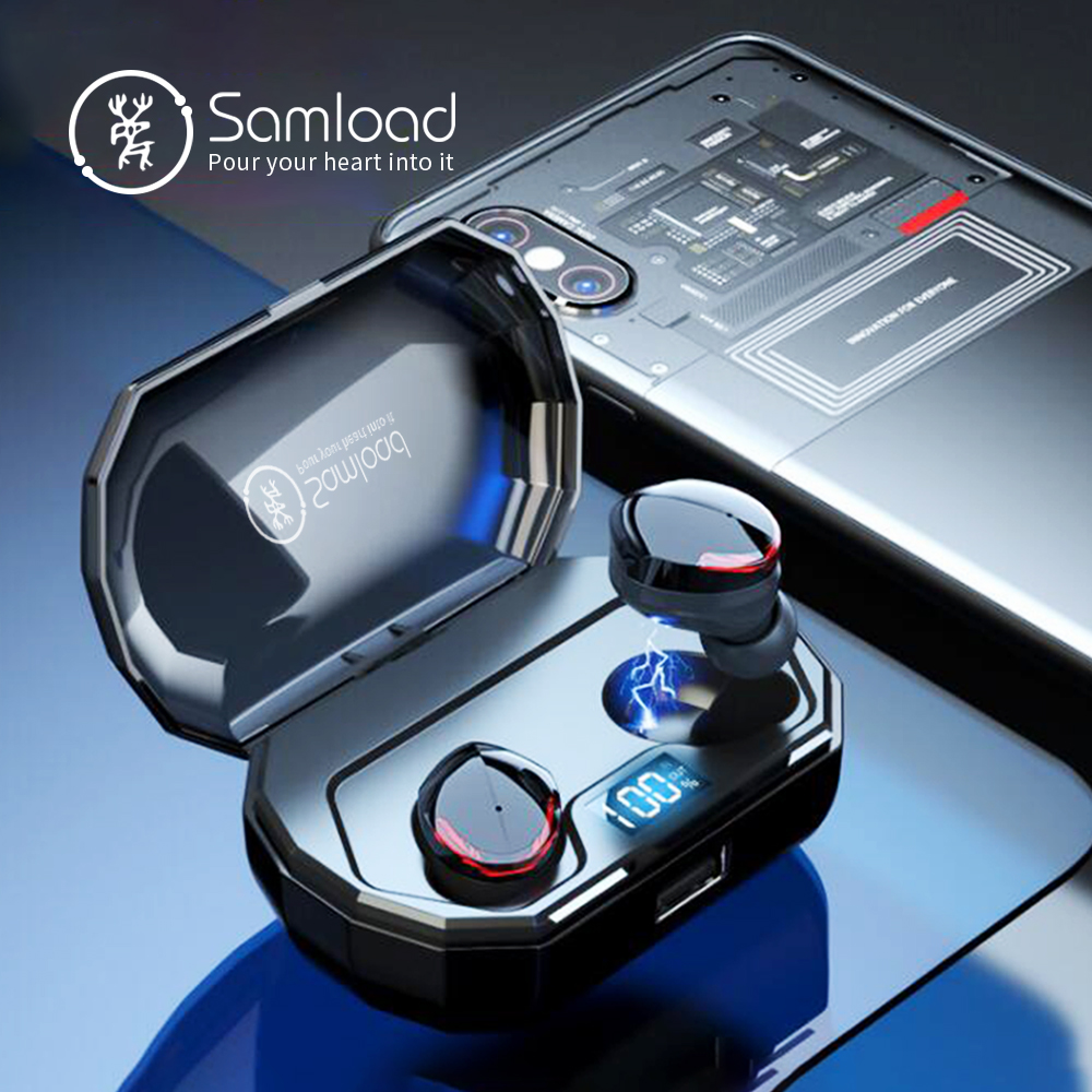 Samload Bluetooth 5 0 Headphones True Wireless Stereo Built in Mic in ear Earbud with 2000mAh