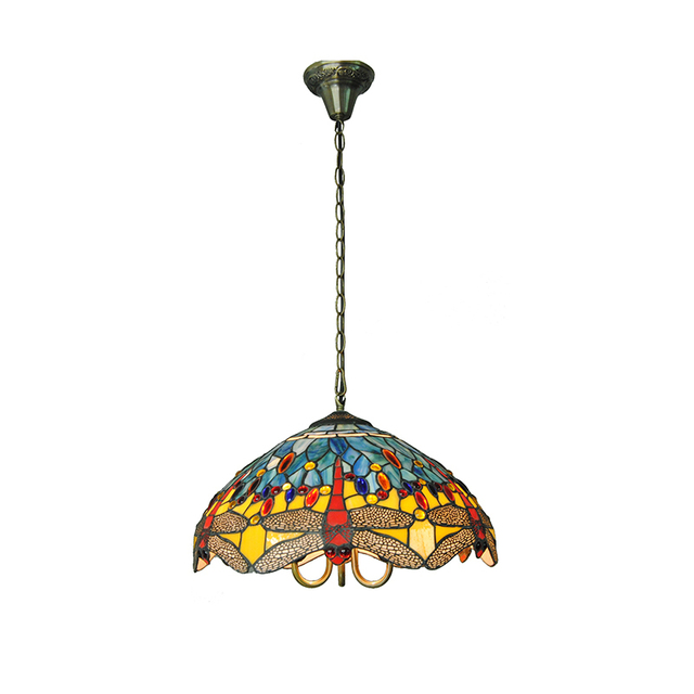Mediterranean Style Dragonfly Pattern Hanging Light Stained Glass  Decorative Tiffany Pendant Lamp Bedroom Restaurant Fixture 716