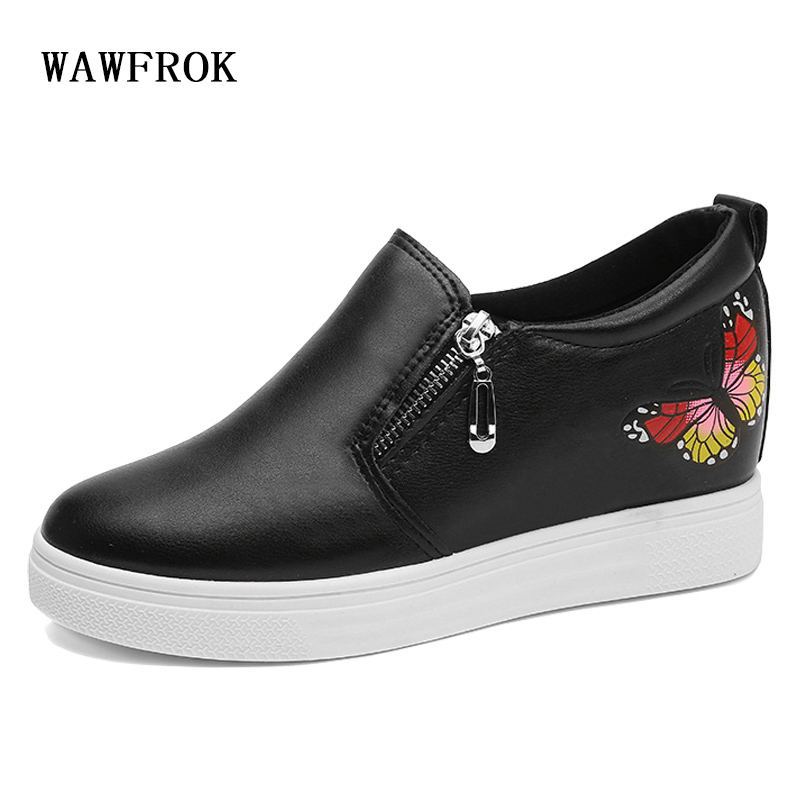 WAWFROK Women Casual Shoes 2018 Summer Spring Shoes Woman Platform Fashion Breathable Increases Women Sneakers