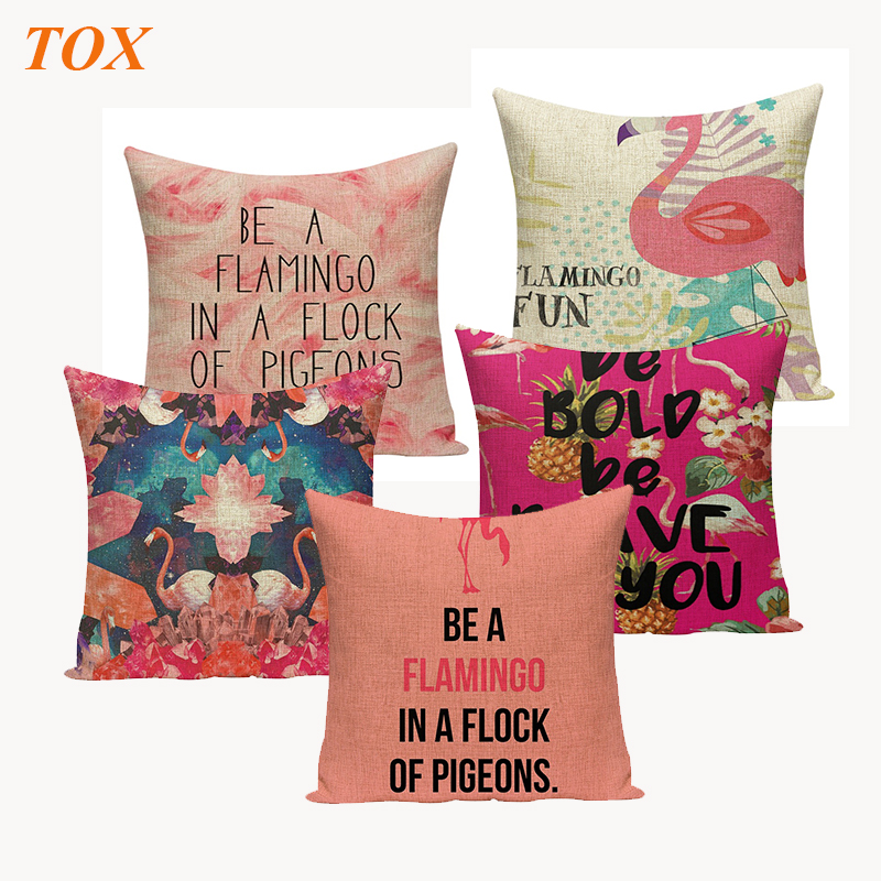 TOX Quality Zipper flamencos Textile Red Flamingo Cushion Cover Square 45Cmx45Cm  Throw Pillow Sofa Printed