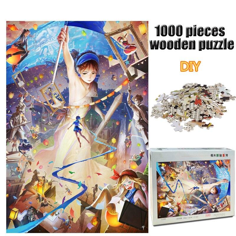 Adulte 1000 pièces avenir monde Puzzle en bois Puzzle couleur dessin animé peinture décompression Puzzle