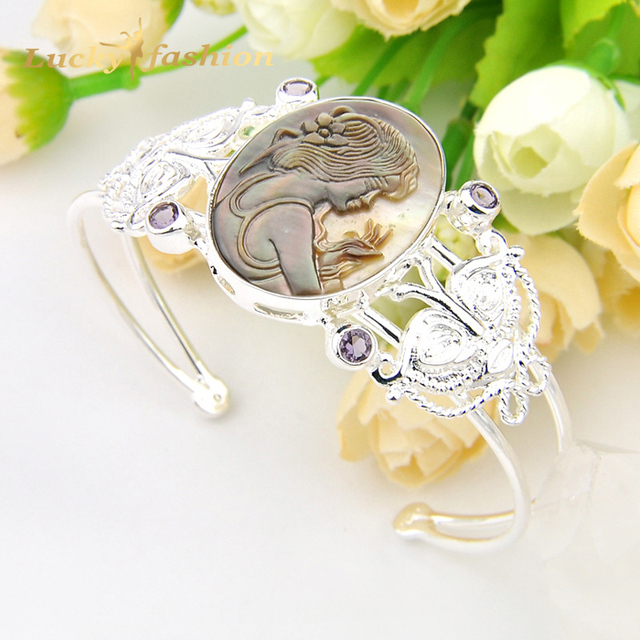 Special Holiday Gift Fire Oval Natural Cameo Shell Amethyst Silver Plated Open Bangles Russia Australia Wedding Bracelet Bangles