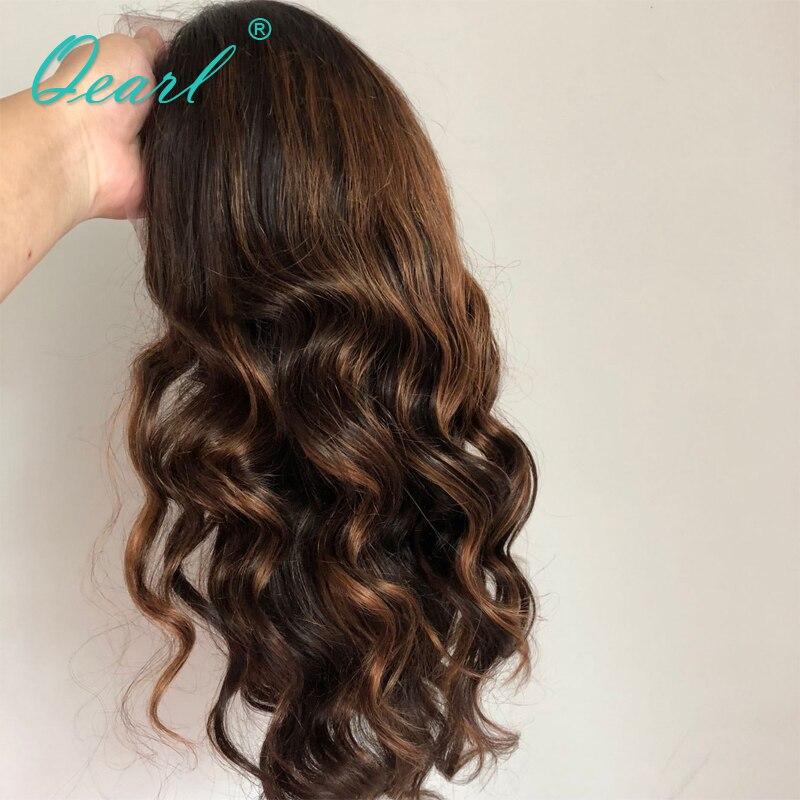 13x4 Avant de Lacet Perruque 180%/200%/250% Épais Densité 14 -28 Long Brésilien remy de Cheveux Humains Perruques Naturel Ondulés Highlight Ombre Qearl