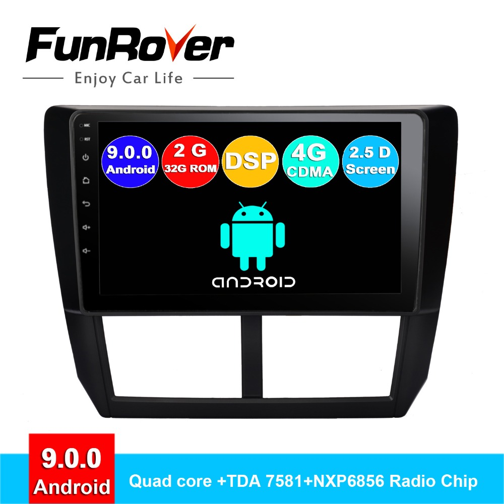 FUNROVER Quad core android 9.0 2 din car dvd gps player For Subaru Forester 2008-2012