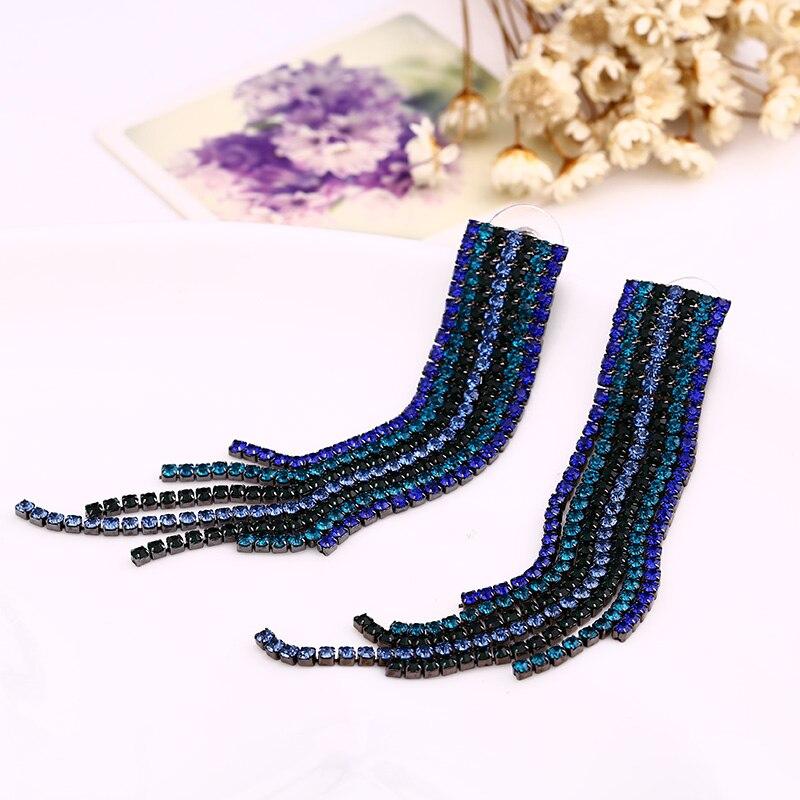 Drop Tassel Earrings Popular Green Rhinestone Crystal Long Tassel Earrings Accessories Earring for Women Vintage Jewelry #E015