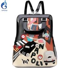 Gamystye moda mujeres mochila femenina doble del hombro bolsos diseñador gato mochila para la muchacha de viaje mochilas escolares portátil grande