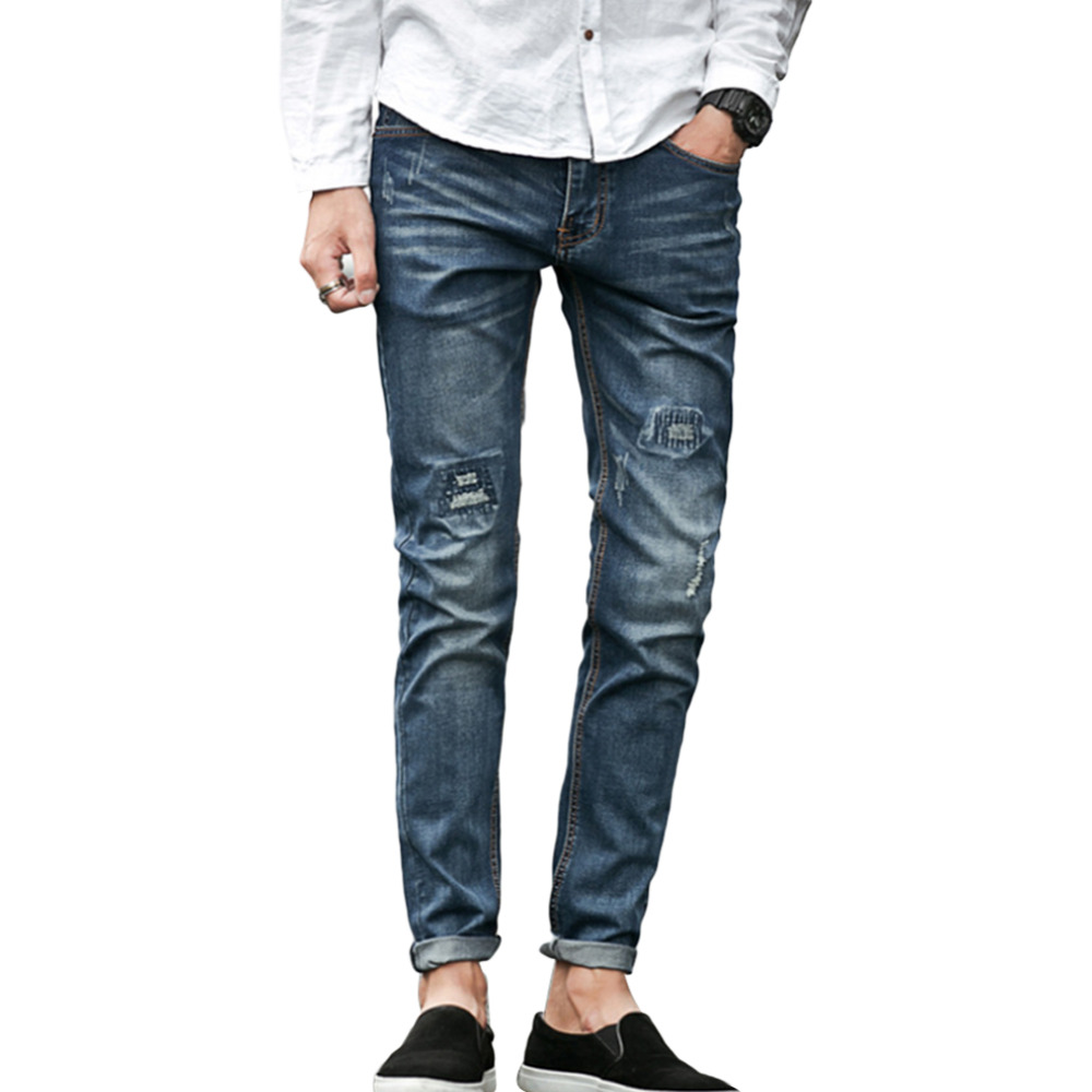 2016 New Men's Pencil Jeanss Fashion Water-washed Straight Pants Blue Ripped Jeans Boy Skinny Plus Size Trousers Pantalon Homme