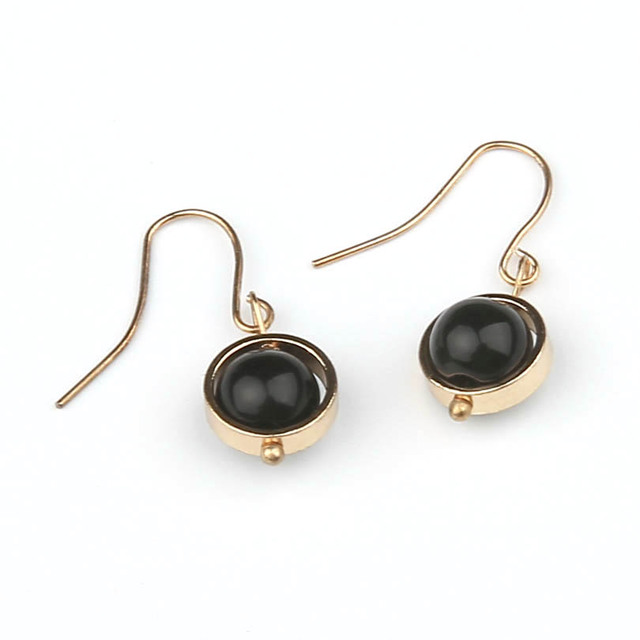 Black Transfer Bead Dangle Earring For Women Simple Fashion Rhinestone Small Drop Earrings Vintage Jewelry