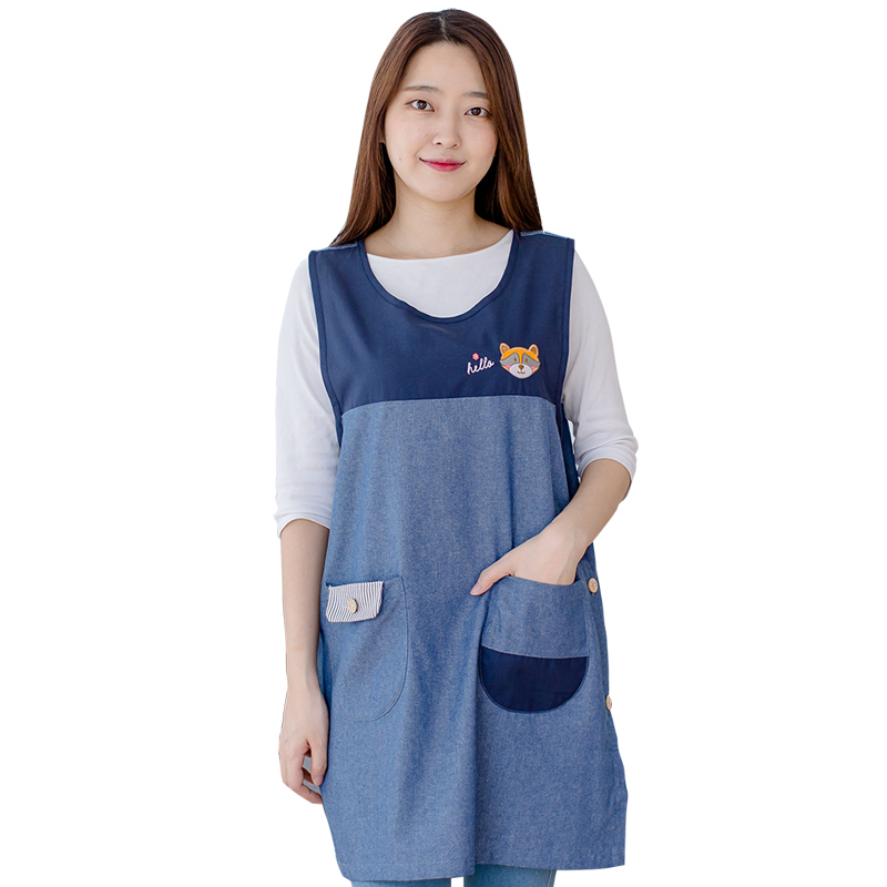 Adjustable Cotton Aprons Blue Color Fashion Kitchen Cooking Apron Household Cleaning Too ...
