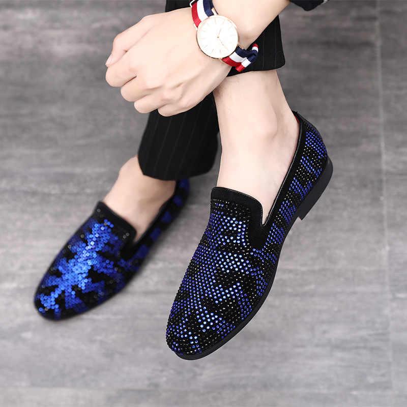 2019 zapatos de cuero de negocios de moda para hombres, mocasines para hombres, zapatos de punta estrecha con diamantes de imitación, zapatos de vestir de alta calidad para hombres, talla grande