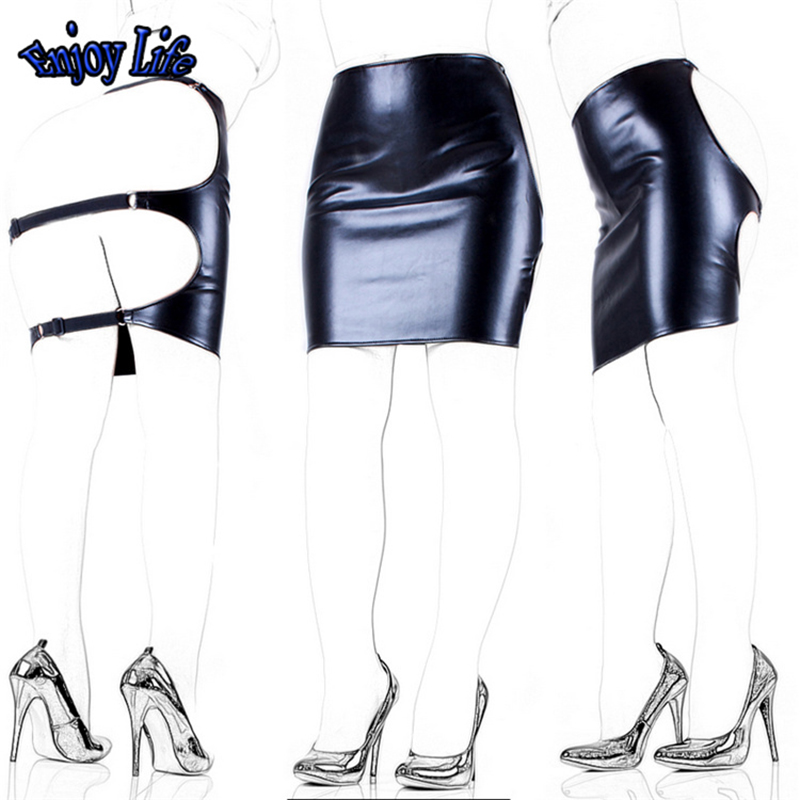 Faux Leather Slave Spanking Skirt Open Hip Bondage Fetish Lingerie Erotic Sexy Lace Up Mini Dress