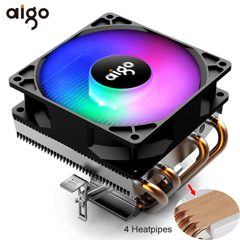 Aigo Pendingin CPU RGB Fan Cooler 4 Heatpipes CPU Cooler 90 Mm Fan Radiator 3Pin Heatsink PC Pendinginan untuk LGA /115X/AM3/AM4/1366/2011