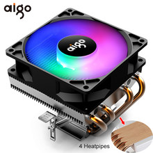 Aigo Ventilatore del dispositivo di Raffreddamento di Raffreddamento della CPU RGB 4 Heatpipes CPU Cooler 90 millimetri Ventola Del Radiatore 3Pin Dissipatore di Calore di Raffreddamento del PC per LGA /115X/AM3/AM4/1366/2011(China)