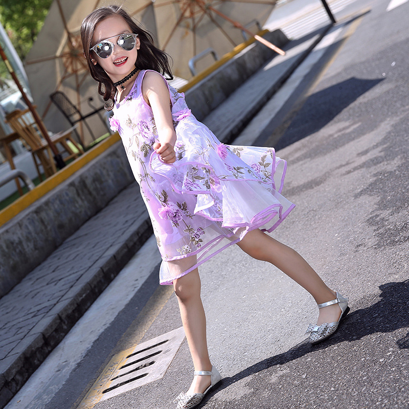 Dress For Girls 2018 Summer Teen Princess Organza Vest Tutu Bubble Beach Dress Pink Purple Yellow Flower Girl Dresses in Dresses from Mother Kids
