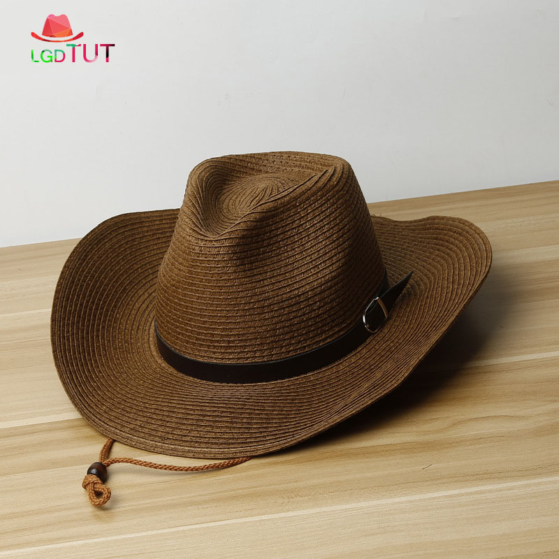 2019 Spring Summer Mens Straw Hats Men's Woman's Western Cowboy Hat With Sun Hat Beach Big Panama Hat Men